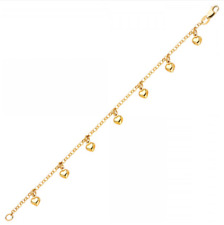 14K Solid Yellow Gold Heart Bracelet - Love Polished Charm Rolo Chain Link Women