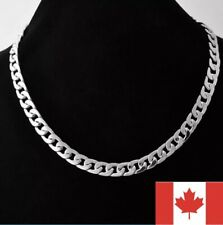 Fashion Curb Cuban Large Silver Chain 24 Inch Stainless Steel Men Necklace Chain