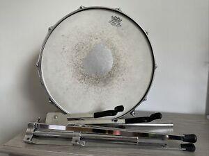 """Vintage Slingerland 5 x 14"""" 10-Lug Ribbed Aluminum Snare Drum W/ Stand !!!"""