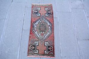 Pink Rug 1.3x3.2,Turkish Rug,Vintage Rug,Faded Rug,Door Mat,Wool Rug,Floor Mat.