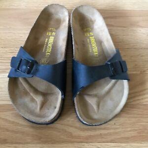 NEW BIRKENSTOCK Black Leather MADRID One Strap Flip Flop Sandals shoes 41/10