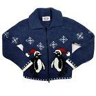 Vintage Heartworks Christmas Ugly Sweater Snowflake Penguins Kids Medium 10/12
