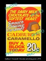 OLD LARGE PHOTO OF AUST CADBURY CARAMELLO CHOCOLATE ADVERTISNG POSTER c1970