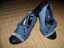 GÖRTZ 17 Trachten Pumps 36 UK 3,5  Damen Schuhe Lack Filz Leder Spitze Knopf  °P
