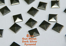 40 Pcs 8mm Gun Metal Flat Back Pyramid Studs Glue Hotfix Iron On - Addt SHP FREE