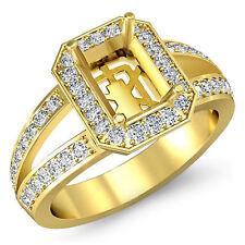 Diamond Engagement Emerald Semi Mount Ring Pre-Set VS1-VS2 14k Yellow Gold 0.55C
