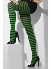 Halloween Fancy Dress Ladies Striped Witch Tights Black & Green by Smiffys New