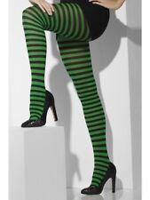 Vestito per Halloween Donna A RIGHE STREGA Collant Neri & VERDE DA SMIFFYS NUOVO