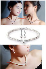 Women Made with Swarovski Crystals 7mm Pearl Necklace Earring Wedding Set XS3