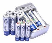 6x AA +6x AAA 1000mAh 3000mAh 1.2V NI-MH BTY batería recargable de MP3 +cargador