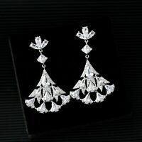 Earrings Chandelier Nails Fan Cz Gold Plated White Art Deco G12A