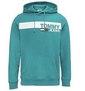 TOMMY JEANS Logo Pull Over Hoodie Jumper in Light Green For Men