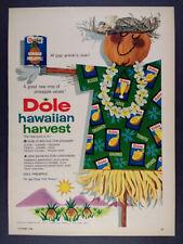 1958 Dole Hawaiian Pineapple tropical scarecrow art vintage print Ad