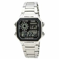 Casio Ae1200Whd-1A Unisex Grey Digital Dial World Time Steel Watch