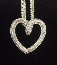 Vintage Sterling Silver Heart Necklace Pendant Siver CWL Wrap