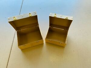 2 Unpainted Nesting and Locking Paper Mache Chests with Handles