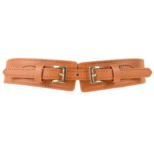 Women Lady Double Buckle Stretch Belt Faux Leather Dress Corset Waistband