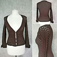 Karen Millen Ladies Crochet Brown Thin Long Sleeve Cardigan Top Size 1 (6-8)