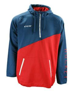 CCM Hockey Senior/Adult CHROMATIC ¼ ZIP TECH HOODY -ENSIGN BLUE/ HIGH RISK RED S