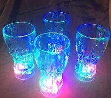 Acrylic Coke Style Blue Flashing LED Light Up 10 Oz. Glasses Set Of 4
