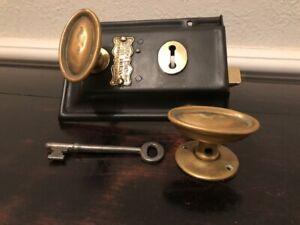 Original Smith's Steal Door Rim Lock with a key& Brass Knobs JD0001
