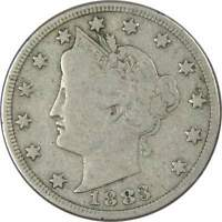 1883 With Cents Liberty Head V Nickel 5 Cent Piece VG Very Good 5c US Coin