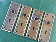 Vtg 2 Pair Antique Mission Beaded Edge Fancy Aged Patina Door Knob Backplates