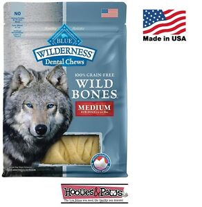 NATURAL Blue Buffalo WILDERNESS MEDIUM Dental Dog Treats Grain Free MADE IN USA