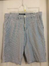 Griffith Mens Shorts Blue PinStripe Stripe Cotton Long Shorts Size 32