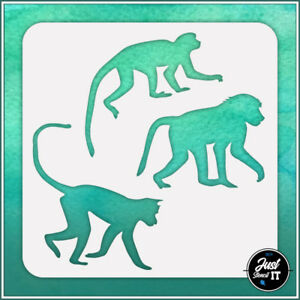Monkeys #1 - durable and reusable stencil for DIY painting & crafts