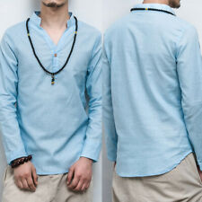 KQ_ DI- Fashion Men Solid Color Long Sleeve V Neck Linen Cotton Button Pullover