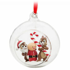 Disney Store 2017 Chip N Dale Sketchbook Xmas Holiday Ornament Glass Globe
