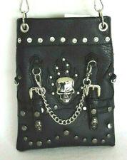 Black Biker Style Skull w chain Rhinestones Studs Small Cross-body Messenger Bag
