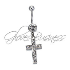 316L Surgical Steel 14G Clear Rhinestone Cross Navel Belly Button Ring Barbell