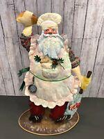 "Vtg Pot Metal Christmas Figurine Santa Claus Standing Baking Cooking Kitchen 15"""