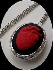 Goth Valentine VAMPIRE Blood RED Anatomical HEART Cameo Slvr Pl LOCKET Necklace