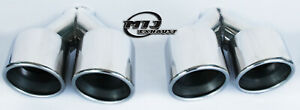 """Pair Of Twin AMG Style Exhaust Tail Pipes 4"""" Stainless Steel Staggered Trim Tips"""