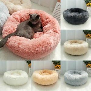 Plush Round Dog Pet Cat Calming Bed Puppy Washable Fluffy Cushion XS-4XL Beds