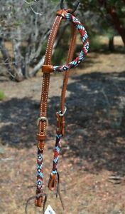 """Circle Y 5/8"""" Infinity Beaded One Ear Headstall  - Brown / Red / Blue"""