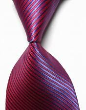 LK1017 Purple Red Stripes Silk Classic Jacquard Woven Men's Tie Necktie