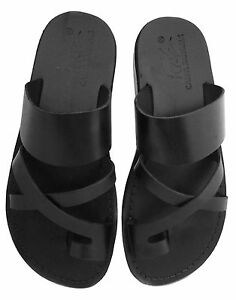 Black Leather Jesus Sandals For Men Strap Handmade Thongs US (5-16) EU (36-50)