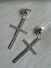 Large  CLIP ON RHINESTONE CROSS DANGLE EARRINGS. BLINGY NWOT! Silver tone