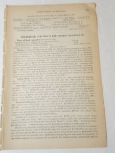 1892 train document CHARLESTON CINCINNATI & CHICAGO RAILROAD Camden SC