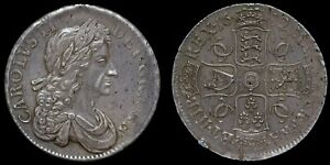 SCARCE HIGH GRADE CHARLES II SILVER CROWN, 1682 OVER 1