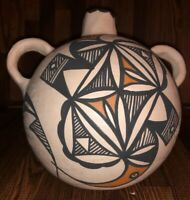 "7"" Wide Acoma Pueblo Pottery Canteen From 1980s Possible Lucy Lewis"