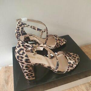 Miss KG Kurt Geiger Women's Block Beige Comb Block Heel Sandals Size 4/37