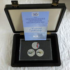 2010 DOUGLAS BADER SILVER PROOF 3 X £5 CHANNEL ISLAND CROWN SET - complete