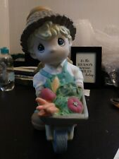 Precious Moments 10 Inch Figurine Angel Boy With Wheelbarrow