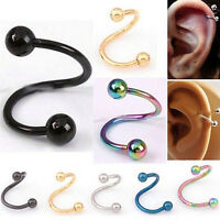Casual Nose Piercing  Ring Stainless Steel Twist Nose Lip Body Ear Stud Ring SHQ