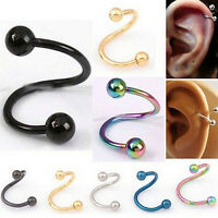 Casual Nose Piercing  Ring Stainless Steel Twist Nose Lip Body Ear Stud Ring SP